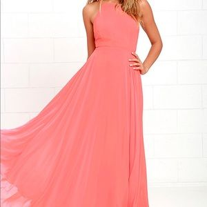 Lulu's Mythical Kind of Love Coral Pink Maxi Dress